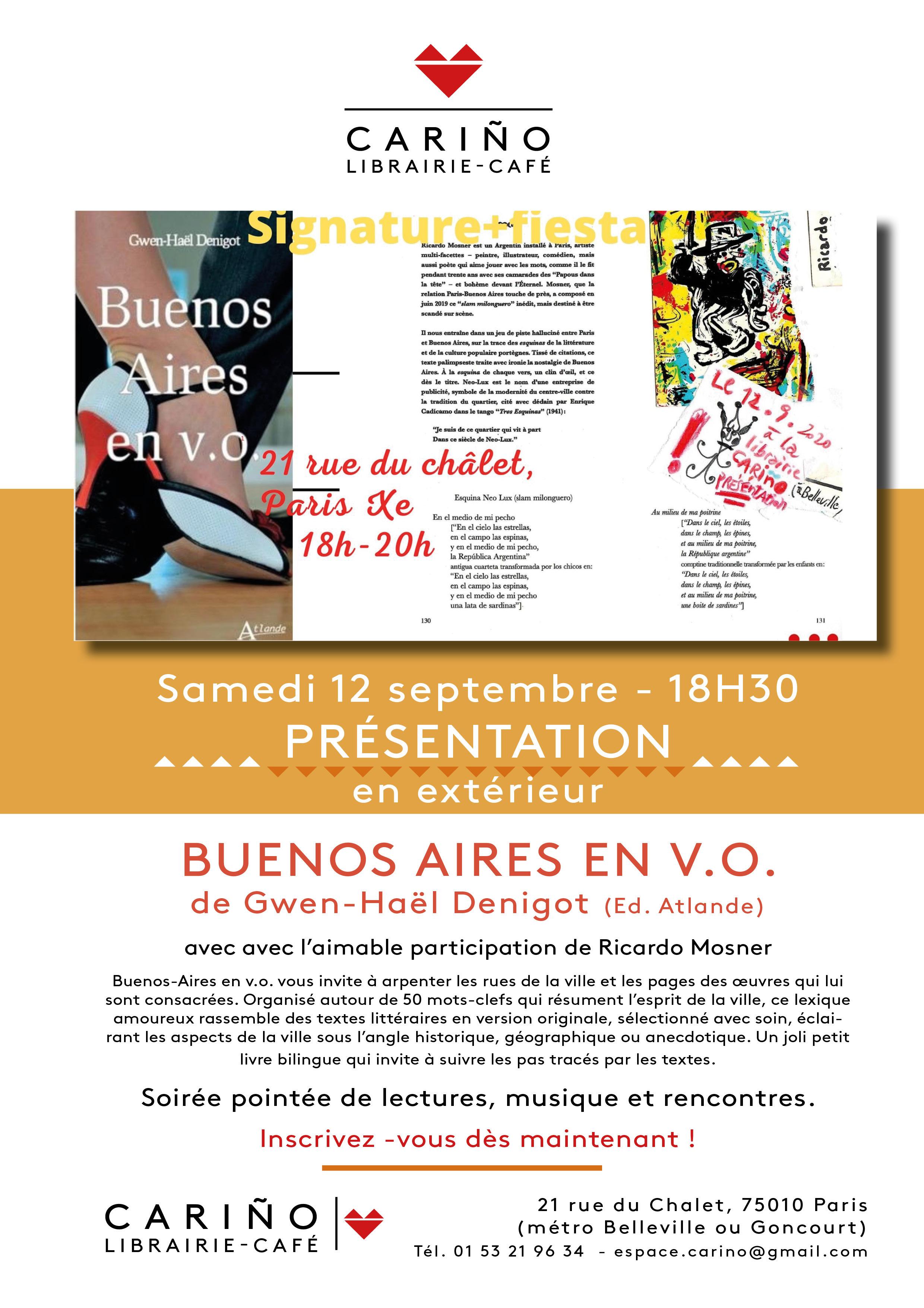 """Venez rencontrer notre auteur Gwen-Haël Denigot à Cariño Librairie-café pour la présentation de son livre """"Buenos Aires en v.o"""", ce samedi à 18h30 !"""